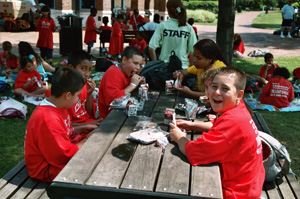 Children enjoying lunch at a Summer Food program in East Boston