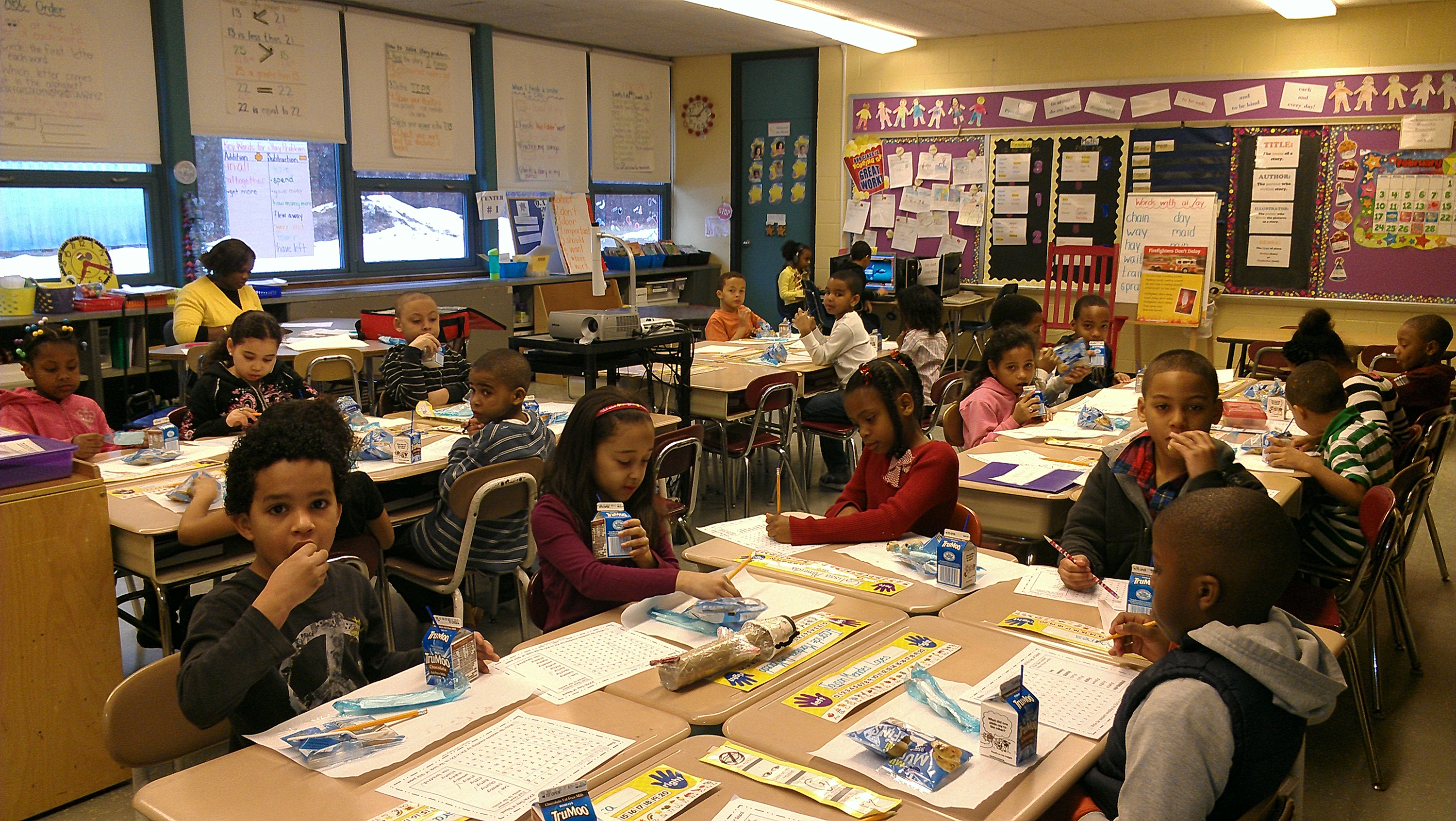 Healthy meals served in a Brockton, Massachusetts classroom